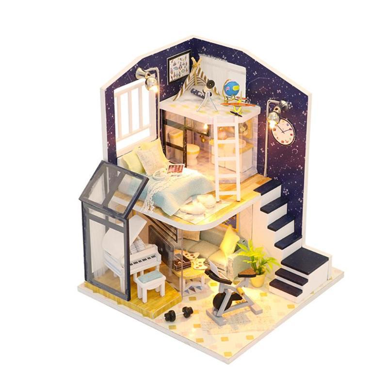 Miniatuur Poppenhuis Building Handgemaakte Huis Diy Hut Model Assemblage Meubels Kinderen Verjaardagscadeau Educatief Model Assembleren