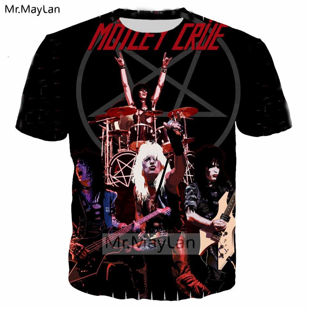 Vintage 3D Print Pop Metal Rock Motley Crue Band   T     shirt   Men Hip Hop Streetwear   T  -  shirt   Man Tshirt Tops Male Clothes Oversized