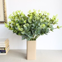 16-fork eucalyptus leaf flower arrangement silk simulation plant wholesale accessories