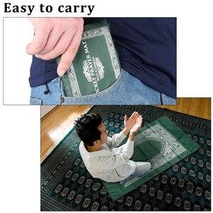 Image 5 - 100x60cm quatre couleurs facile à transporter Eid moubarak tapis de prière musulman tapis islamique pour poche couverture pliante avec pour boussole