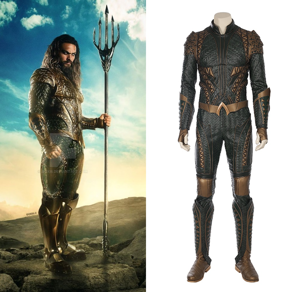 2017 Justice League Aquaman Arthur Curry Leather Cosplay Costume Men's Halloween Outfit Suit