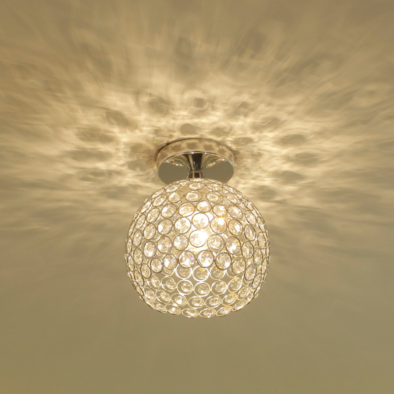 Round Living room Led ceiling light Modern Simple Creative Aluminum K9 Crystal Corridor Aisle The study Bedroom Attic