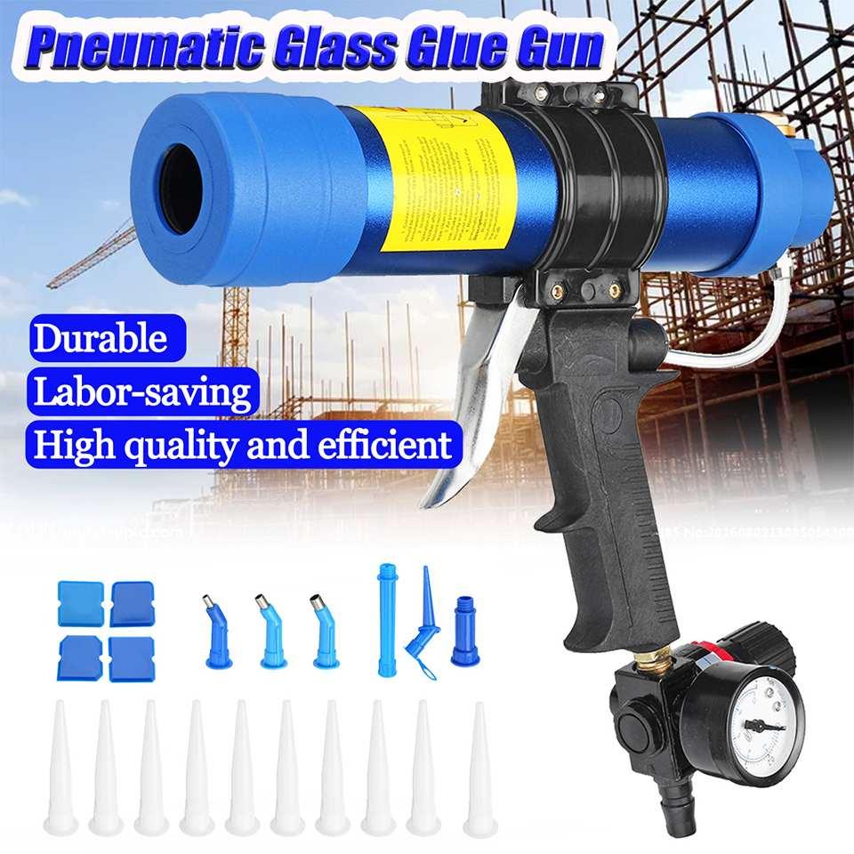 310 ML Pistolet à Calfeutrer à Air/Cartouche Pneumatique Distributeur Mastic Silicone Applicateur Collage De Verre Outil Voiture Fenêtre Kit D'entretien - 6