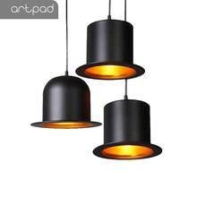 Single Head Creative Hat Shape Black Penant Light E27 Bulb Kitchen Living Room Bedroom Modern Ceiling Plate Hanglamp Fixture Led