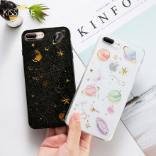KISSCASE Transparent Case For iPhone X 10 Coque Glitter Cute Luxury lovely Pattern 5 5S SE 6 7 8 Plus Shockproof Coques