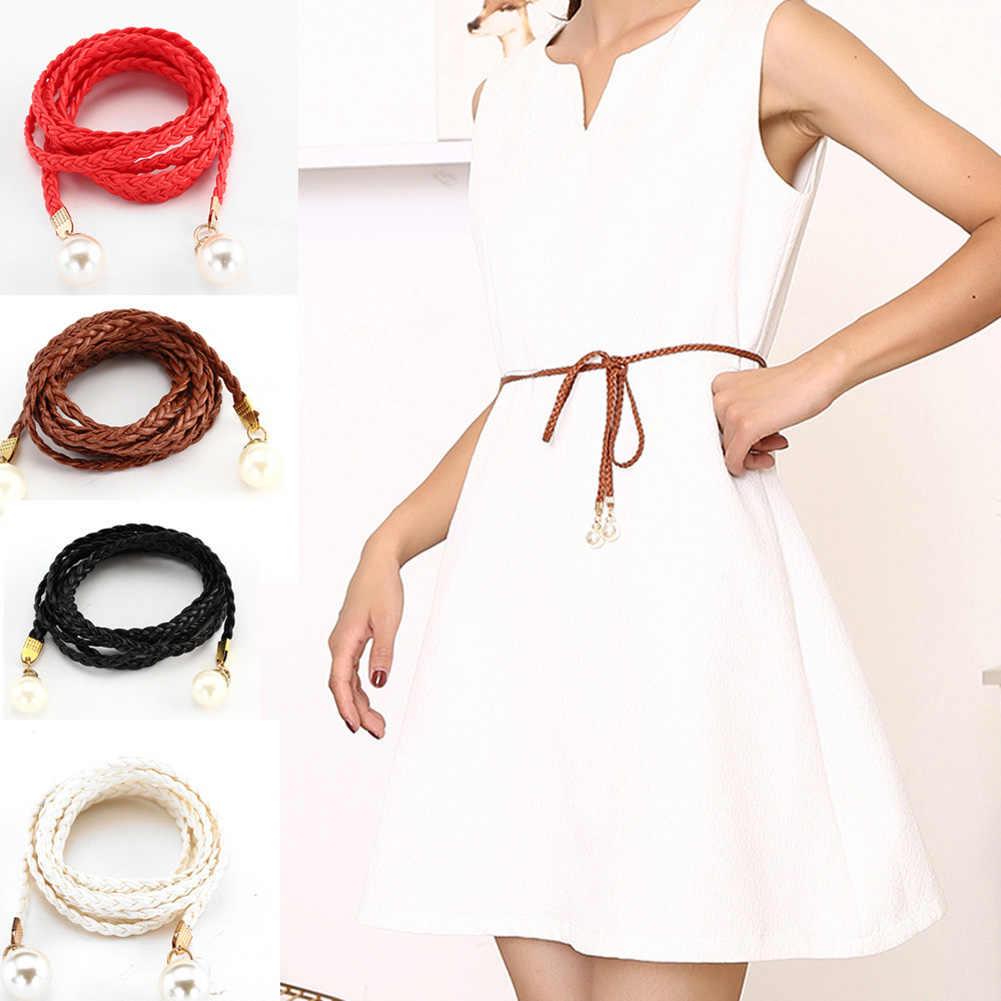 المرأة حزام نمط لون الحلوى الخصر سلسلة حبل القنب مضفر لؤلؤة كبيرة حزام ملابس يدوية أحزمة أنيقة أبيض أسود أحمر
