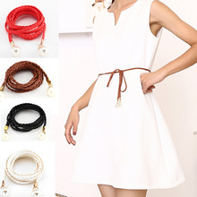 Women Belt Style Candy Color Waist Chain Hemp Rope Braided Big Pearl Dress Hand Made Fashion Belts White Black Red