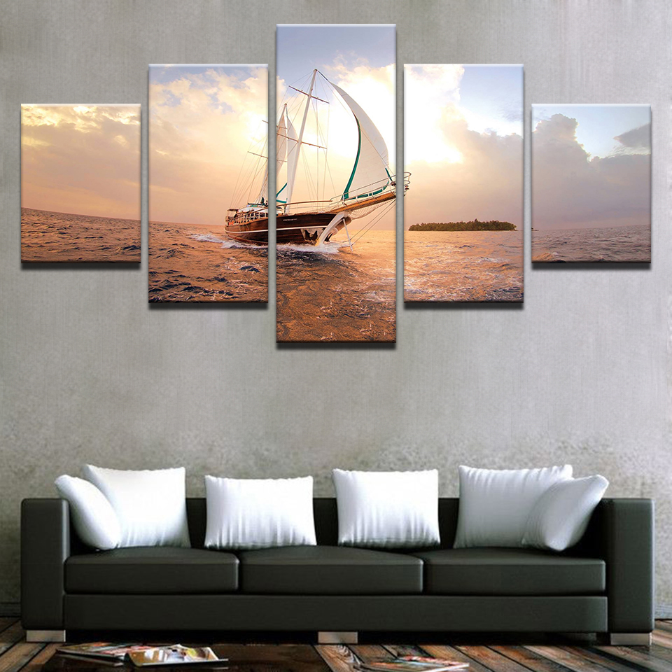 HD Prints Pictures Modular Canvas Wall Art Framework 5 Pieces Sunset Sailboat Seascape Paintings Home Decor Boat Sailing Posters in Painting Calligraphy from Home Garden