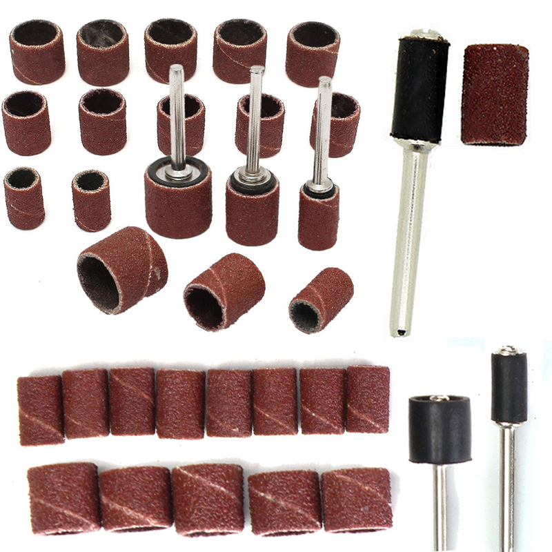 1set 1/2INCH  3/8inch Mixed Sanding Drum Sleeves + Drum Mandrel For Rotary Tool 102pcs