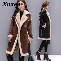 Women lambs wool coat female medium long thick warm shearling coats suede leather Jackets autumn winter female outerwear Xnxee