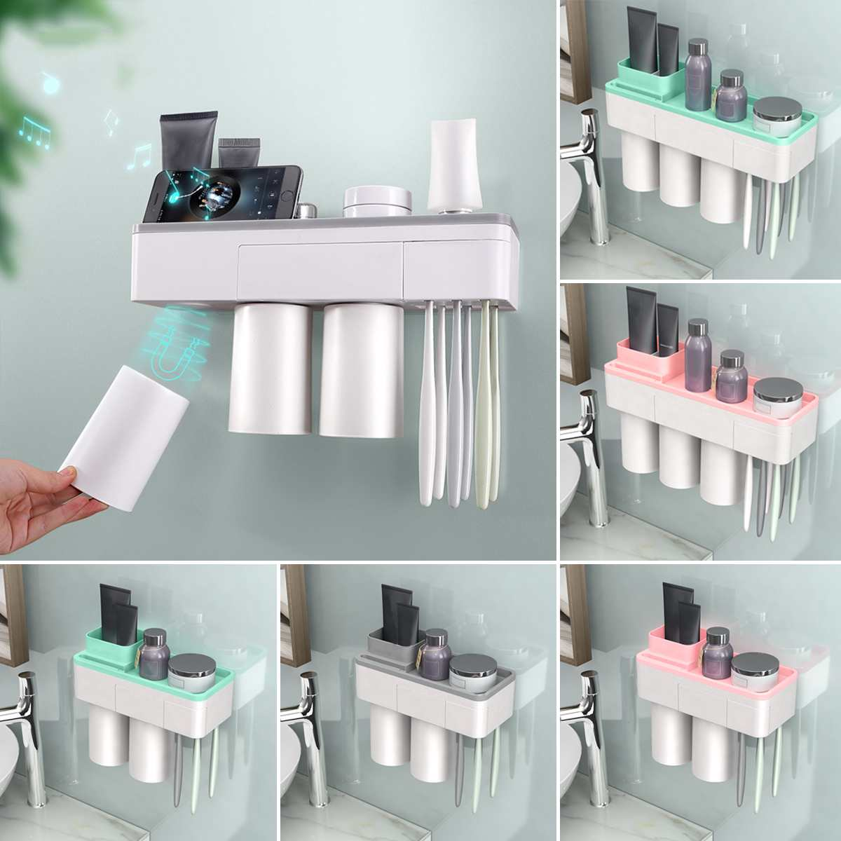 A Shelf 58 15c 5 Chrome Pull Out Basket: Plastic Magnetic Toothbrush Holder Storage Rack Shelf Home