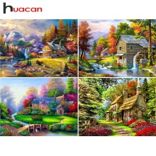 Huacan Diamond Embroidery Garden Handicraft Wall Decor Landscape Painting Rhinestones Art Mosaic Kits