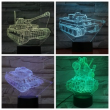 Tank Night Light LED 3D Illusion USB Touch Sensor RGB 7 Color Changing Child Kid Gift FPS Game Weapon Table Lamp desk Decoration недорого