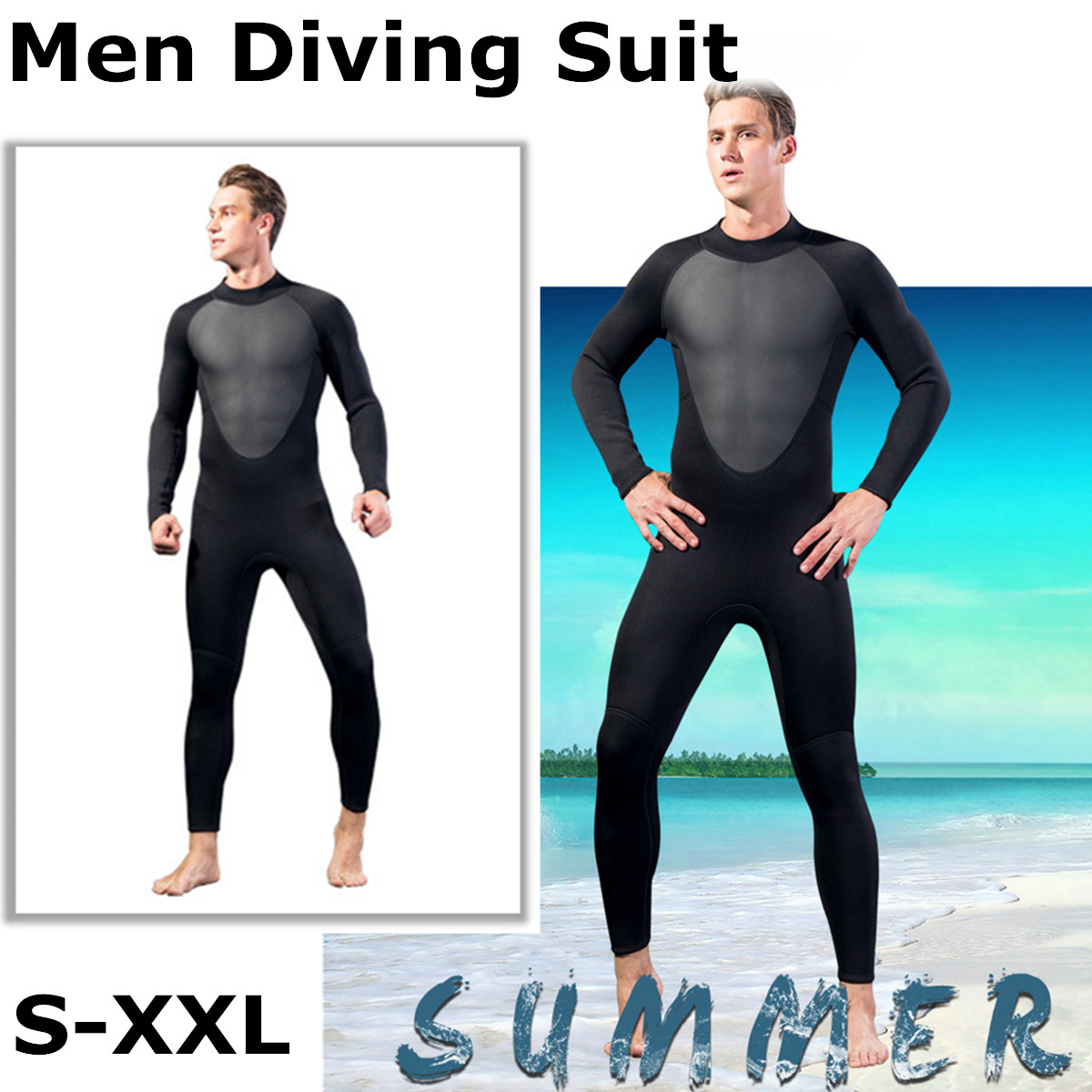 b1053cd0bb Detail Feedback Questions about Full Bodysuit 3MM Mens WetSuit S XL Super  Elasticity Diving Suit For Swimming Surfing Snorkeling Elastic Adjustable  Cloth ...