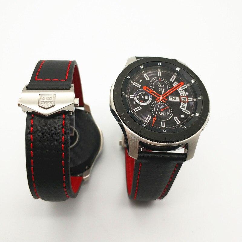 Date Carbone fibre Véritable bracelet de montre En Cuir Bande Pour Samsung Galaxy Montre 46mm 42mm Vitesse S3 Classique Frontière montre huawei 2 - 2