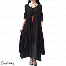 Женское крестьянское этническое Бохо хлопковое льняное платье макси с длинным рукавом