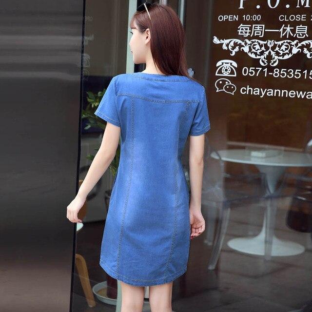 BOodinerinle Coréenne Plus La Taille Denim Robe Pour Les Femmes Robe D'été 2019 Casual Avec Bouton Poche Sexy Mini Jeans Robe 3xl 2