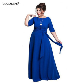 99922b9bf Verano Maxi vestido hasta el suelo vestido de fiesta talla grande mujeres  vestido largo elegante vestido de noche azul 5XL 6XL Vestidos 2019
