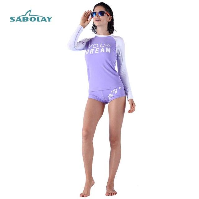Traje de baño mujer raso guardia Surf Rashguard mujeres de manga larga carta Camisa pantalones cortos Surf Camisa UV Bodyboard talla grande 4XL
