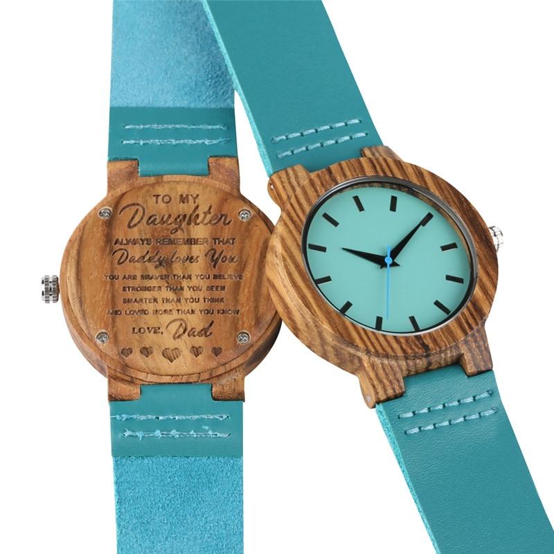 Relógio de Madeira Artesanal para Mulher Pulseira de Couro dos Homens Presente para o Pai Natural Criativo Quartzo Movimento Melhor