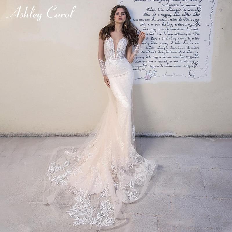 Ashley Carol Romantic Mermaid Wedding Dress 2019 Deep V