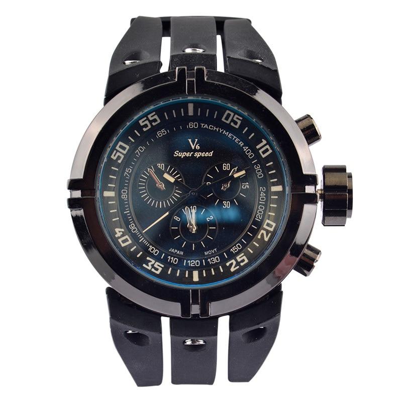 ?Brand V6 Fashion Men's Sport Watch Male Japan Quartz Analog Pointer Wristwatch Life Water Resistance Silicone Band Alloy Case