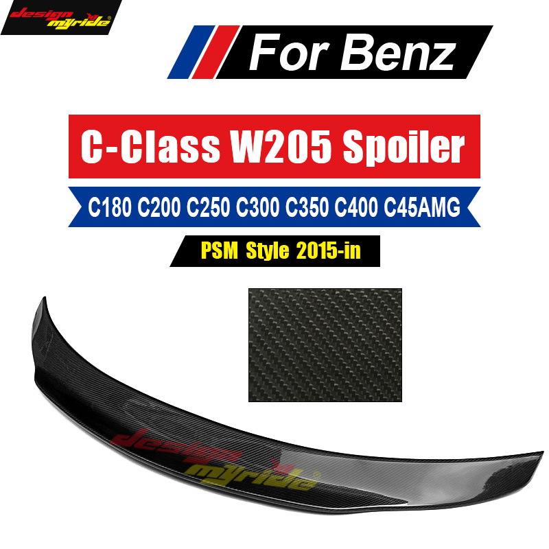 Glossy Real Carbon Fiber Rear Spoiler Wing For 2015-18 Mercedes C Class W205