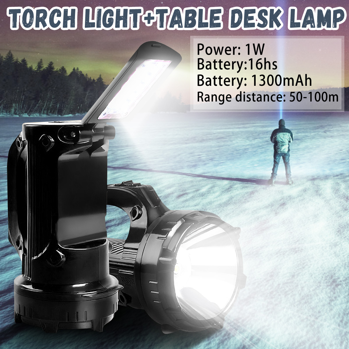 <font><b>LED</b></font> <font><b>Work</b></font> <font><b>Light</b></font> Torch Rechargeable Dual <font><b>Led</b></font> Portable Spotlight 1W 1300mAh 50-100m 8/<font><b>16</b></font>/10hs Home-use Flashlight Table Lamp image