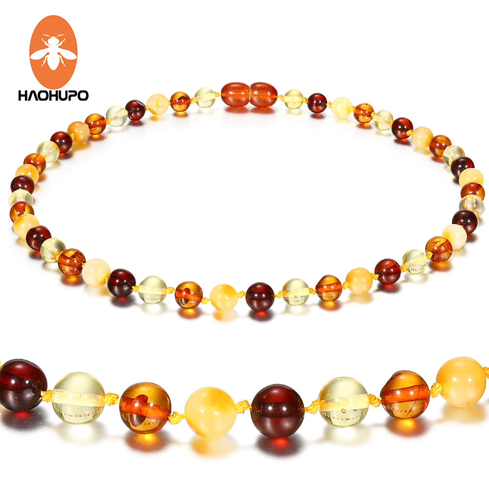 Hao Hu Po 5 Colors Classic Polished Amber Necklace for Baby Gifts Top Quality Handmade Baltic Natural Jewelry