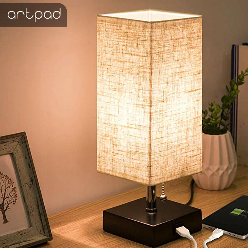 Modern Design Bedside Table Lamps with USB Charging Port Wood Base Fabric Square Nightstand Table Light Bedroom Study Lighting image