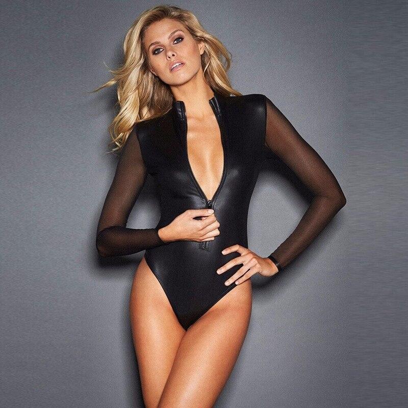 #0802 Black Mesh Long Sleeve Faux Leather Bodysuit Zipper Women Plus Size 4XL PU Body Feminino Sexy Clubwear Party PVC Bodysuits