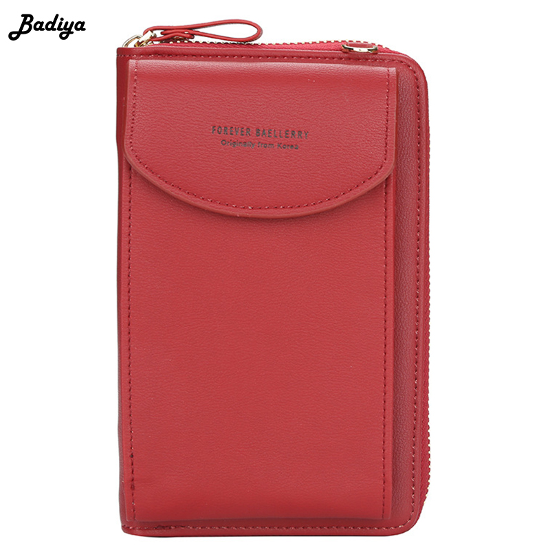 Fashion Women Crossbody Wallet PU Leather Lady Clutch Bag Multifunction Zipper Coin Purse Solid Color Shoulder BagsClutch Bag