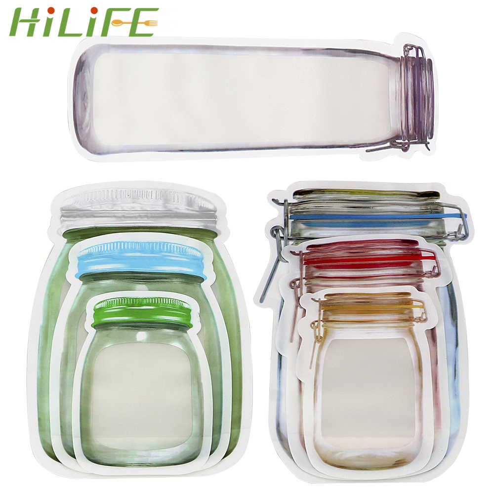 HILIFE Food Snack Pouches Storage Zipper Food Grade Plastic Zip Lock Bag Stand Up Bag Storage Bag Smell Proof Clip
