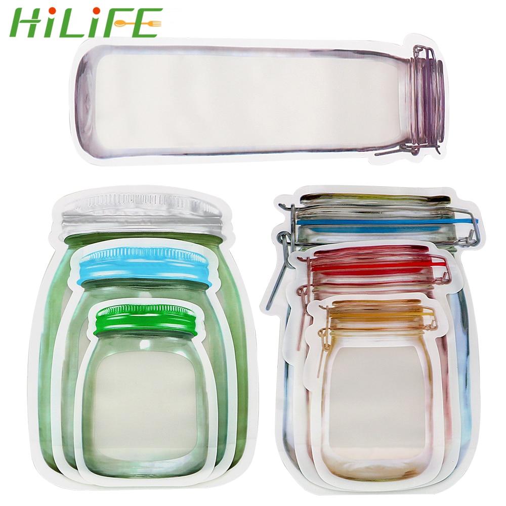 10ps Reusable Mason Jar Bottles Bags Fresh Food Storage Bag Snacks Zipper Pouch