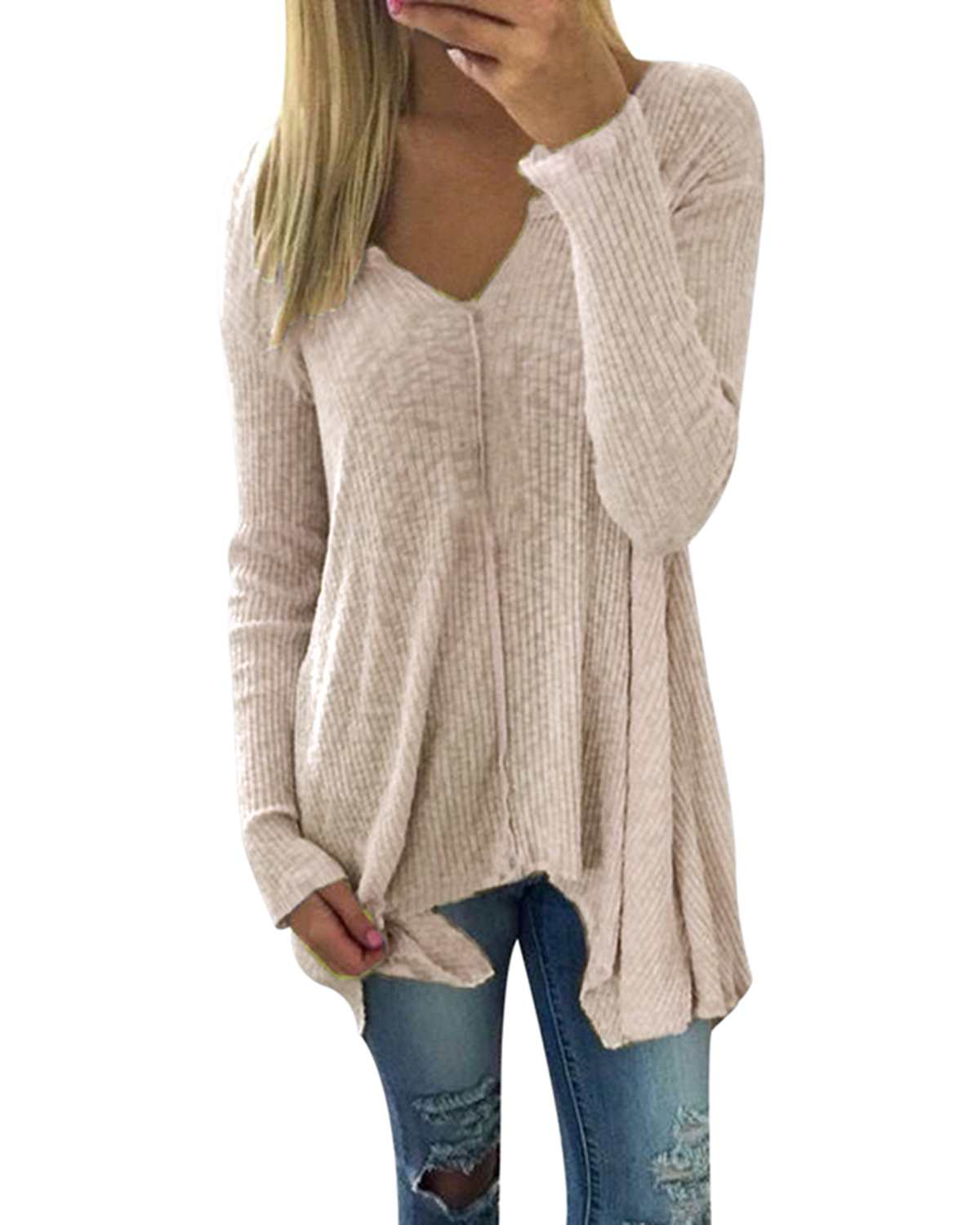 Women Knitting Pullover Long T-Shirts ZANZEA 2019 Spring Autumn Casual Loose Sexy V-Neck Full Sleeve Solid Irregular Tops Tees