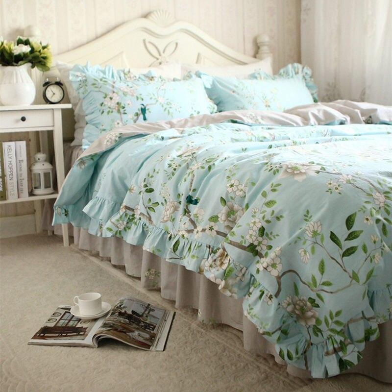 Style américain frais pastorale ensemble de literie à volants arbre avec oiseau housse de couette élégant couvre-lit rides lit draps ensembles de literie