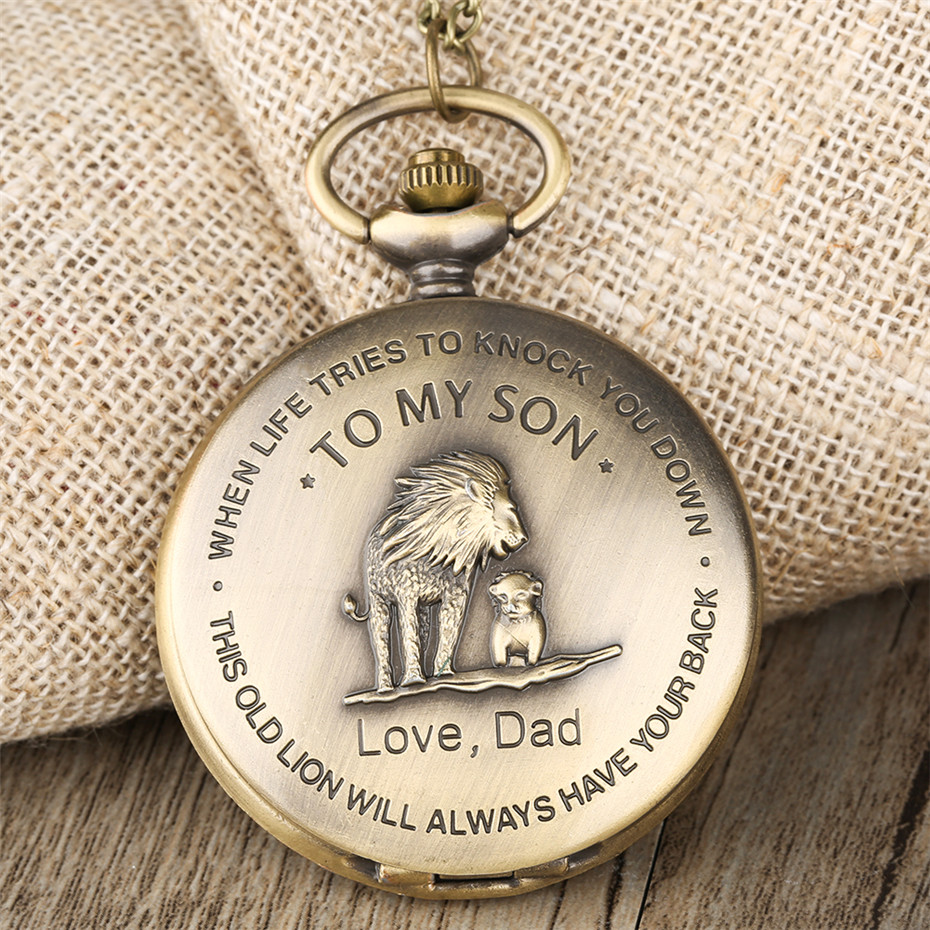 To My Son, Love Dad Lion King Theme Quartz Pocket Watch Lovely Bronze Necklace Pendant Birthday Children's Day Gifts For Boys