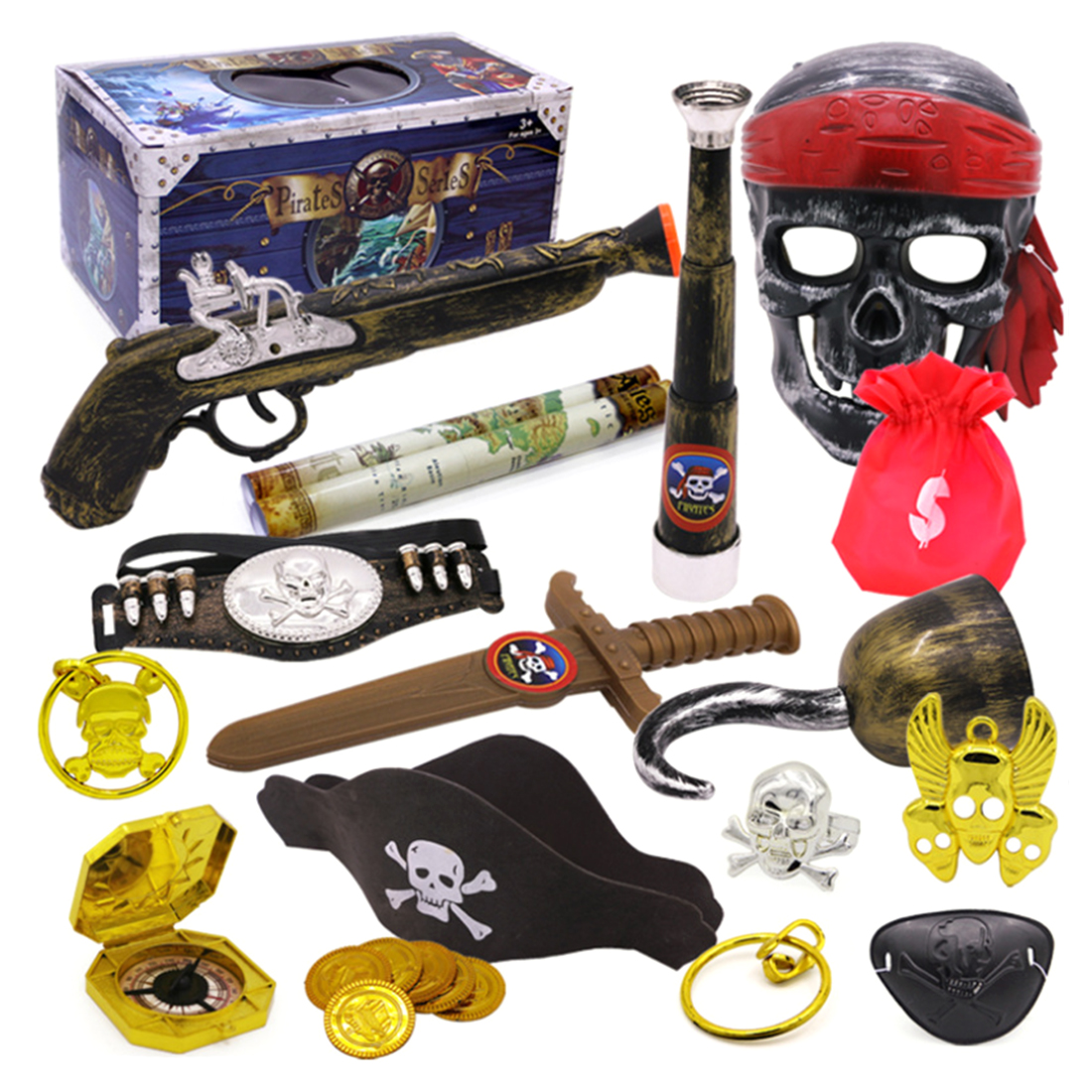 Pirate Theme Toys Supplier Party Toy Decoration Set  Dress Up Toy Treasure Box Type B Children Age 3+ Birthday Gift Kid's Party