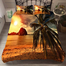 Bedding Set 3D Printed Duvet Cover Bed Set Beach Coconut Tree Home Textiles for Adults Bedclothes with Pillowcase #HL36 beach style dusk coconut tree pattern square shape pillowcase