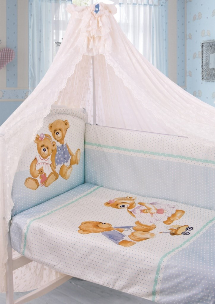 175 Set in the cot Sweety Bear Satin (1752 blue)