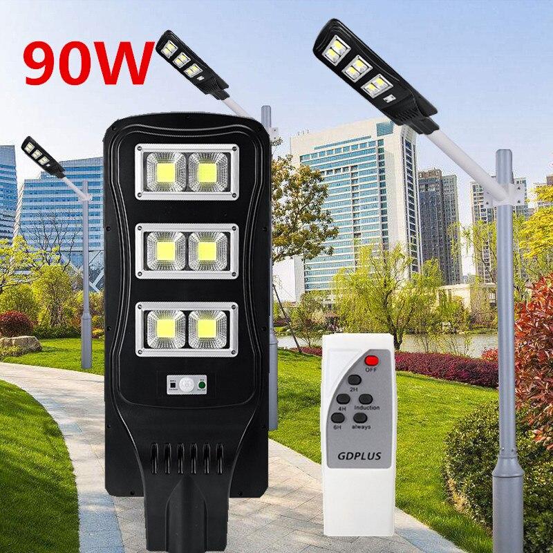 90 W imperméabilisent la lumière actionnée solaire de mouvement de PIR de réverbère de mur avec à télécommande pour la lampe d'inondation extérieure de rue de cour de jardin