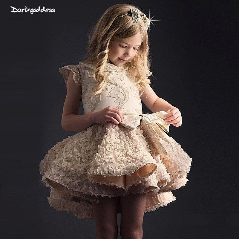 Luxury Lace Flower Girl Dresses for Weddings Ball Gown Short Prom Dress for Girl Kids First Communion Dresses vestido daminha