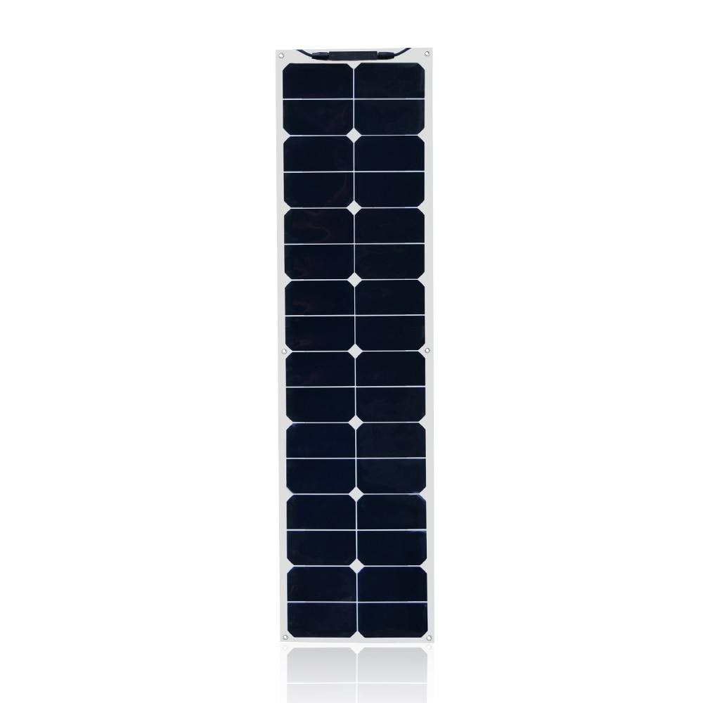 Chargeur de batterie de Module de cellules solaires monocristallines flexibles résistantes à l'eau de panneau solaire de 18 V 50 W avec l'agrafe de câble de MC4