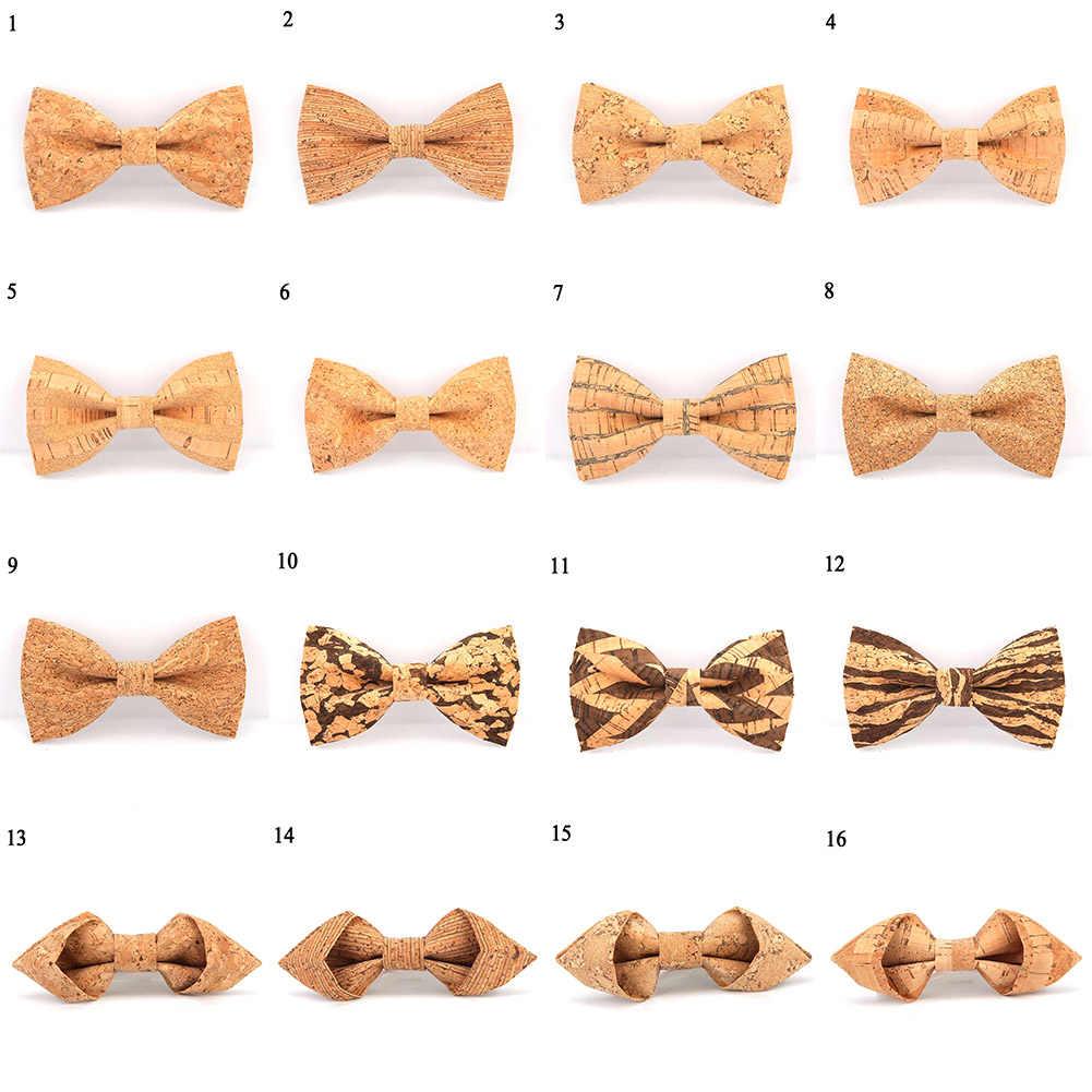 Cork pajarita de madera para hombre novedad hecho a mano lazo sólido boda fiesta estampado corbata Hombre Nuevo estilo Blazer corbatas 24 colores