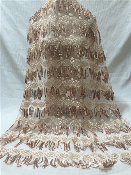 2019 High Quality French 3D Tulle Beaded African Lace Fabric Sequins Embroidered Nigerian Lace Fabrics For