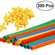 300 sztuk słomy konstruktor blokujące Enginnering zabawki słomki i złącza zestaw zabawki edukacyjne dla dzieci