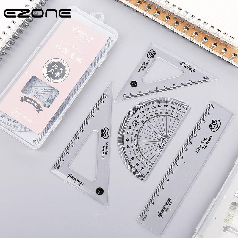 EZONE 4pcs/set Student Rulers Triangular Rule Protractor Creative Transparent Plastic Ruler Students Mathematical Plotting Tool