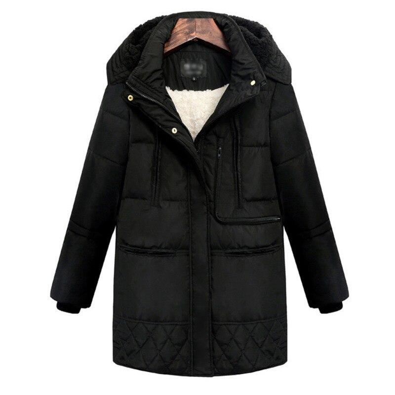 2018 Mode Agneaux Parka D'hiver Le black Vers Long Capuche À Manteau Femme Bas Survêtement Vestes Beige Laine Pour Épais Femmes WSYSHqwP7