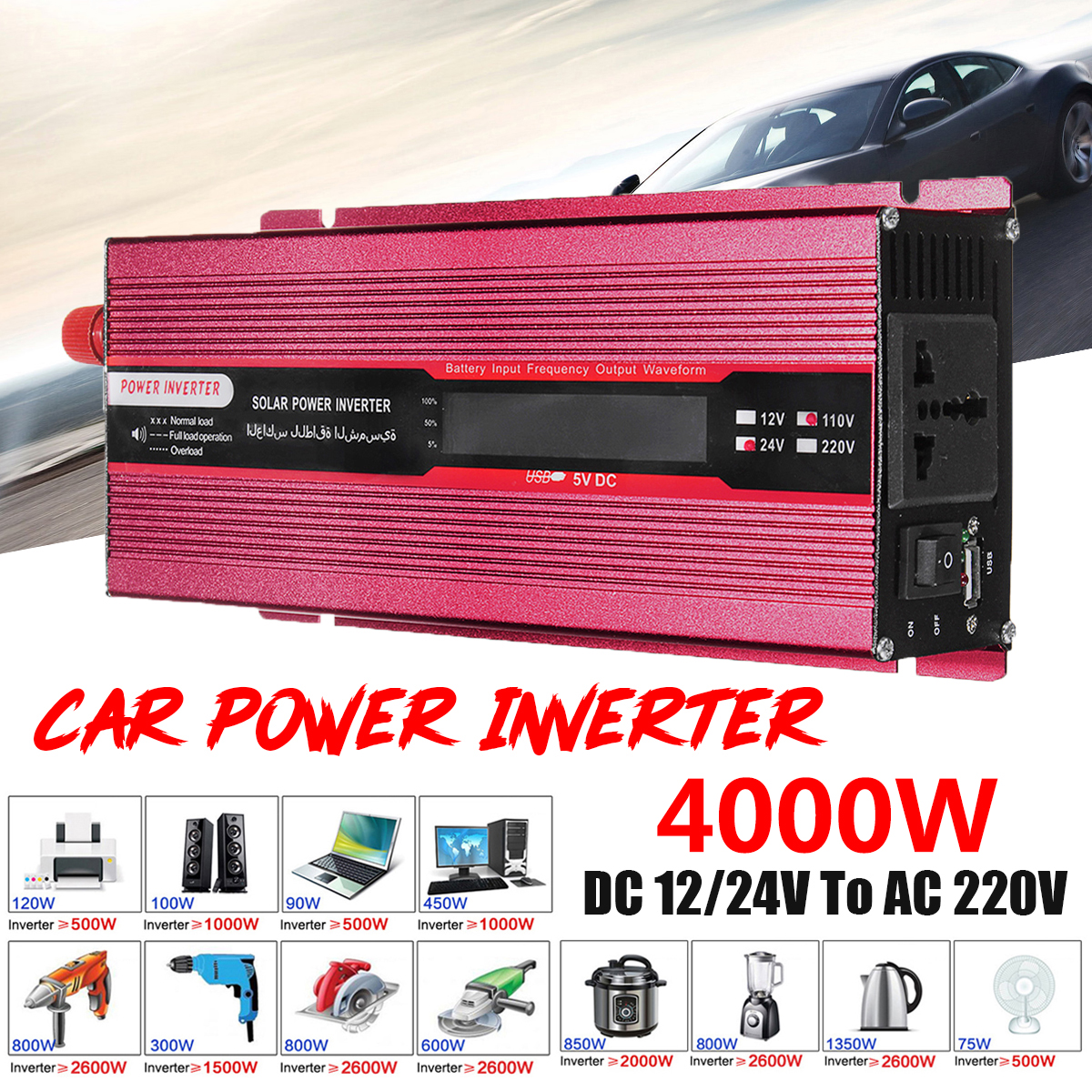 Efficiency Car Power Inverter PEAK 4000W 12/24V To AC 220/110V USB Modified Sine Wave Converter Transformer Voltage Display 12 24v to ac 220 110v car power inverter converter peak 10000w usb modified sine wave voltage transformer universal intelligent