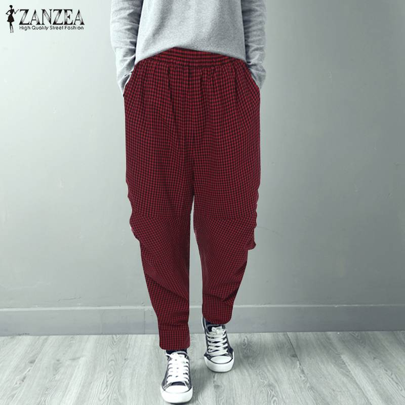Fashion ZANZEA 2019 Spring Harem Pants Elegant Plaid Check Work Trousers Women Casual Elastic Waist Long Turnip Pantalon Female